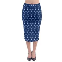 Blue White Anchor Midi Pencil Skirt by Mariart