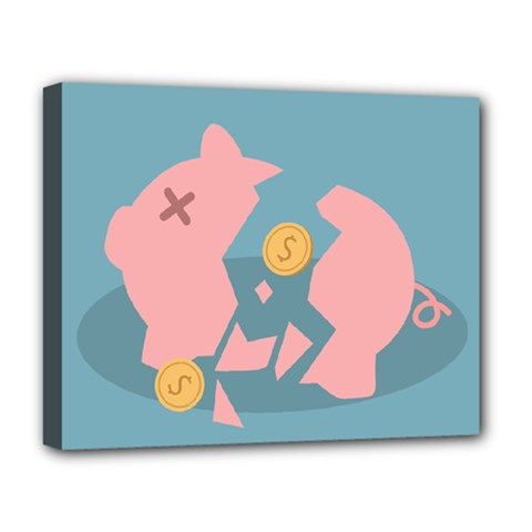 Coins Pink Coins Piggy Bank Dollars Money Tubes Deluxe Canvas 20  X 16   by Mariart