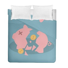 Coins Pink Coins Piggy Bank Dollars Money Tubes Duvet Cover Double Side (full/ Double Size) by Mariart