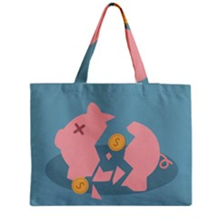 Coins Pink Coins Piggy Bank Dollars Money Tubes Medium Zipper Tote Bag by Mariart