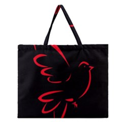 Dove Red Black Fly Animals Bird Zipper Large Tote Bag by Mariart