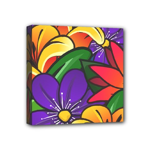 Bright Flowers Floral Sunflower Purple Orange Greeb Red Star Mini Canvas 4  X 4  by Mariart