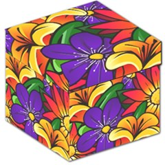 Bright Flowers Floral Sunflower Purple Orange Greeb Red Star Storage Stool 12   by Mariart