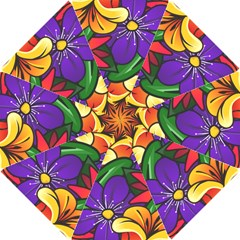 Bright Flowers Floral Sunflower Purple Orange Greeb Red Star Hook Handle Umbrellas (small) by Mariart