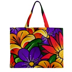 Bright Flowers Floral Sunflower Purple Orange Greeb Red Star Zipper Mini Tote Bag by Mariart