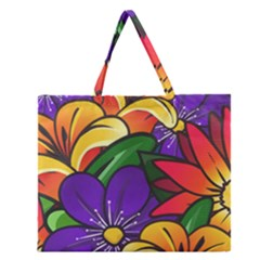 Bright Flowers Floral Sunflower Purple Orange Greeb Red Star Zipper Large Tote Bag by Mariart