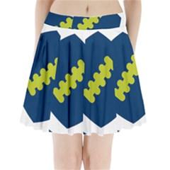 Football America Blue Green White Sport Pleated Mini Skirt by Mariart