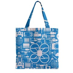 Drones Registration Equipment Game Circle Blue White Focus Zipper Grocery Tote Bag by Mariart