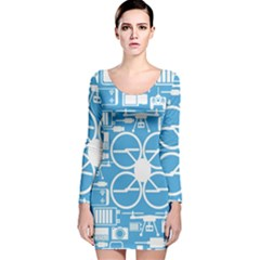 Drones Registration Equipment Game Circle Blue White Focus Long Sleeve Velvet Bodycon Dress by Mariart