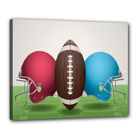 Helmet Ball Football America Sport Red Brown Blue Green Canvas 20  X 16  by Mariart