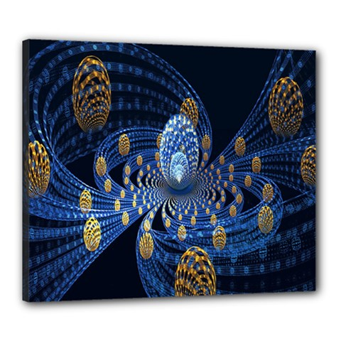 Fractal Balls Flying Ultra Space Circle Round Line Light Blue Sky Gold Canvas 24  X 20  by Mariart
