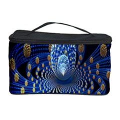Fractal Balls Flying Ultra Space Circle Round Line Light Blue Sky Gold Cosmetic Storage Case by Mariart