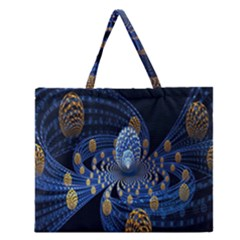 Fractal Balls Flying Ultra Space Circle Round Line Light Blue Sky Gold Zipper Large Tote Bag by Mariart