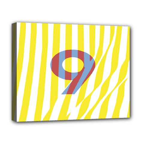 Number 9 Line Vertical Yellow Red Blue White Wae Chevron Deluxe Canvas 20  X 16   by Mariart