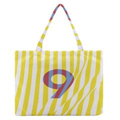 Number 9 Line Vertical Yellow Red Blue White Wae Chevron Medium Zipper Tote Bag by Mariart
