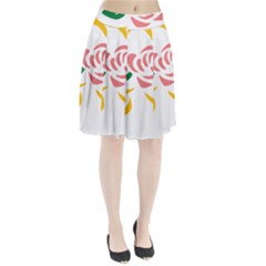 Pink Rose Ribbon Bouquet Green Yellow Flower Floral Pleated Skirt by Mariart