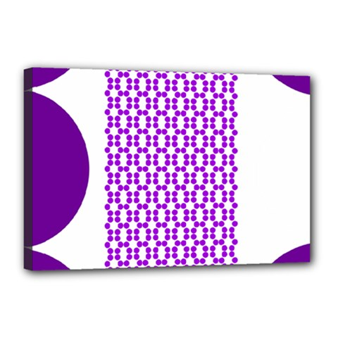 River Hyacinth Polka Circle Round Purple White Canvas 18  X 12  by Mariart