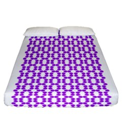 River Hyacinth Polka Circle Round Purple White Fitted Sheet (queen Size) by Mariart