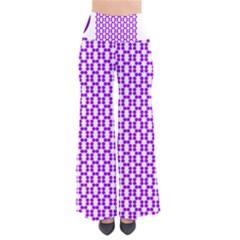 River Hyacinth Polka Circle Round Purple White Pants by Mariart