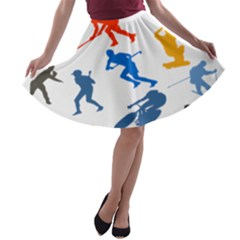 Sport Player Playing A Line Skater Skirt by Mariart