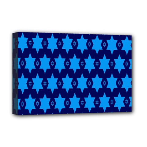 Star Blue Space Wave Chevron Sky Deluxe Canvas 18  X 12   by Mariart
