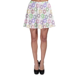Star Space Color Rainbow Pink Purple Green Yellow Light Neons Skater Skirt by Mariart