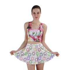 Star Space Color Rainbow Pink Purple Green Yellow Light Neons Mini Skirt by Mariart