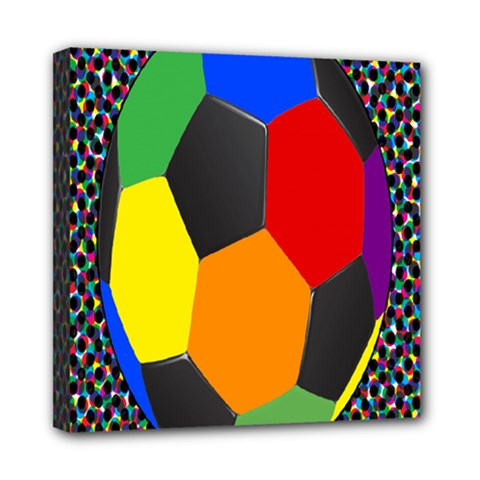 Team Soccer Coming Out Tease Ball Color Rainbow Sport Mini Canvas 8  X 8  by Mariart