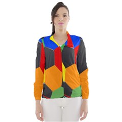 Team Soccer Coming Out Tease Ball Color Rainbow Sport Wind Breaker (women) by Mariart