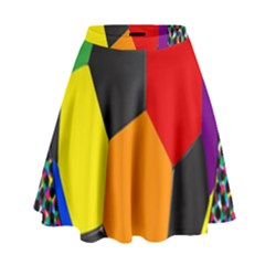 Team Soccer Coming Out Tease Ball Color Rainbow Sport High Waist Skirt by Mariart