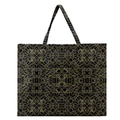 Golden Geo Tribal Pattern Zipper Large Tote Bag by dflcprints