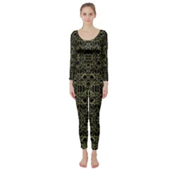 Golden Geo Tribal Pattern Long Sleeve Catsuit by dflcprintsclothing