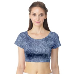 Blue Romantic Flower Pattern Denim Short Sleeve Crop Top (tight Fit) by Ivana