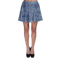 Blue Romantic Flower Pattern Denim Skater Skirt by Ivana