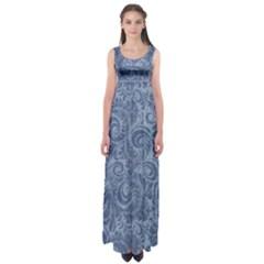 Blue Romantic Flower Pattern Denim Empire Waist Maxi Dress by Ivana