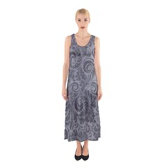 Grey Romantic Flower Pattern Denim Sleeveless Maxi Dress by Ivana
