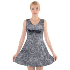 Grey Romantic Flower Pattern Denim V Neck Sleeveless Skater Dress by Ivana