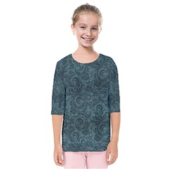 Teal Romantic Flower Pattern Denim Kids  Quarter Sleeve Raglan Tee by Ivana