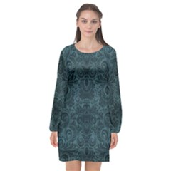 Teal Romantic Flower Pattern Denim Long Sleeve Chiffon Shift Dress  by Ivana