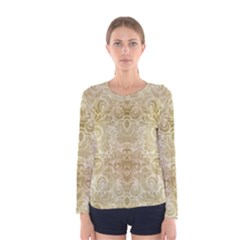 Gold Romantic Flower Pattern Women s Long Sleeve Tee by Ivana