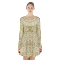 Gold Romantic Flower Pattern Long Sleeve Velvet V Neck Dress by Ivana