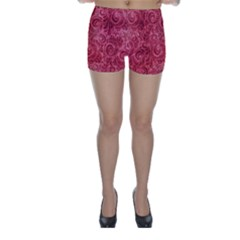 Red Romantic Flower Pattern Skinny Shorts by Ivana