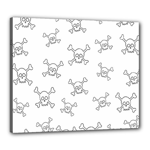 Skull Pattern Canvas 24  X 20  by ValentinaDesign