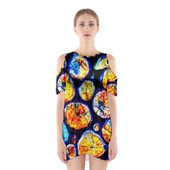 Woodpile Abstract Shoulder Cutout One Piece