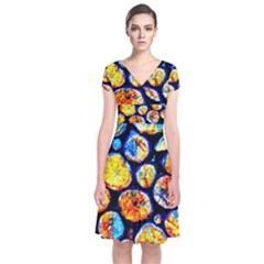 Woodpile Abstract Short Sleeve Front Wrap Dress