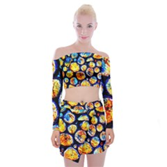 Woodpile Abstract Off Shoulder Top With Skirt Set by Costasonlineshop