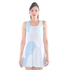 Cloud Sky Blue Decorative Symbol Scoop Neck Skater Dress