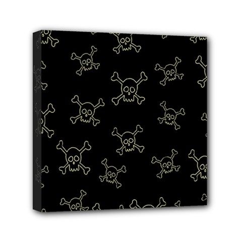Skull Pattern Mini Canvas 6  X 6  by ValentinaDesign
