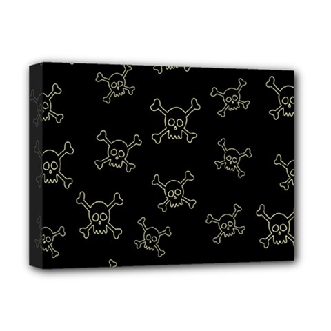 Skull Pattern Deluxe Canvas 16  X 12   by ValentinaDesign