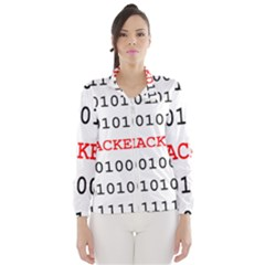 Binary Black Cyber Data Digits Wind Breaker (women)